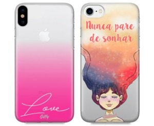Capinhas para iPhone XR - Pink Love / Nunca Pare de Sonhar - Kit com 2 und