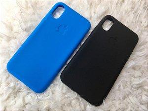 Capa para iPhone X - Silicone Flexível Azul / Preta - Kit 2 unidades