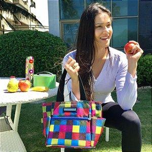 Bolsa Termica estampa xadrez colorido Fit
