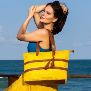 Bolsa de Praia Amarela de Tela Barca