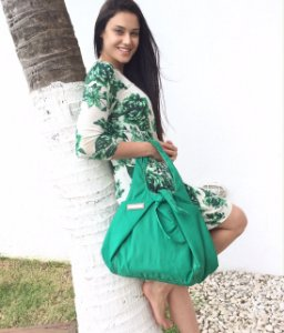 Bolsa feminina tecido nylon verde House