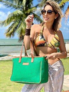 Bolsa de Praia Verde de Tela Quadrada