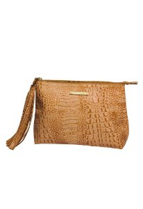 Clutch de couro natural Nude Croco