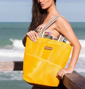 Bolsa de Praia Amarela Tela Vertical