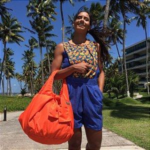 Bolsa feminina tecido nylon laranja House