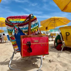 Bolsa de Praia Vermelha Tela Ótima