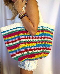 Bolsa crochet grande colorida multicolor