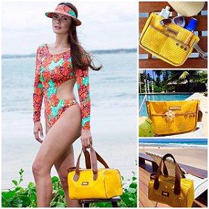 Kit Bolsa de praia em tela amarela Basset e Necessaire amarela