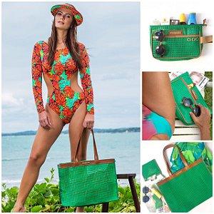 Kit bolsa de praia em tela verde horizontal e Necessaire em tela