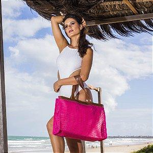Bolsa de Praia em Tela Pink Horizontal