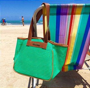 Bolsa de Praia Verde de Tela Vazada