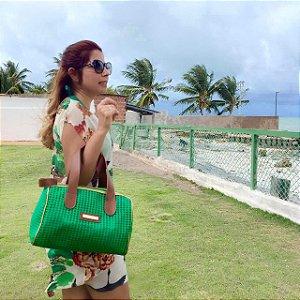 Bolsa de praia Verde em tela Basset