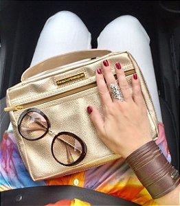 KIT bolsas para biblia em couro dourada com 7 bolsas