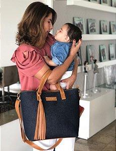 Bolsa maternidade jeans e couro Multi Mae