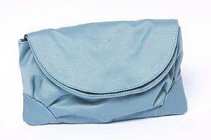 Clutch Feminina cetim azul chic dupla