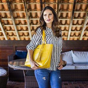 Bolsa de Couro Amarela Fashion