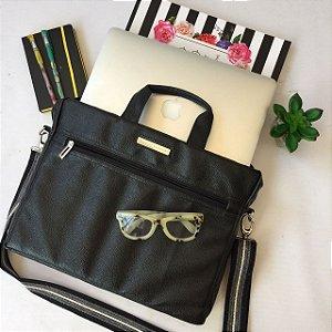 Bolsa para Notebook em couro Preta