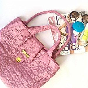 Bolsa de tecido metalassê rosa chic