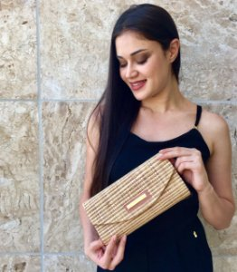 Clutch de palha natural mista stamp