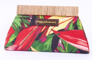 Clutch Floral tecido e palha folhas Africa