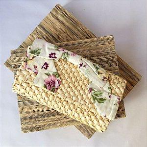 Clutch de palha natural milho Laço floral