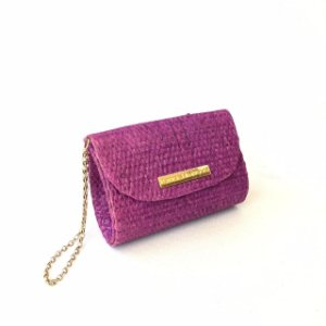 Clutch de palha Roxa Fat
