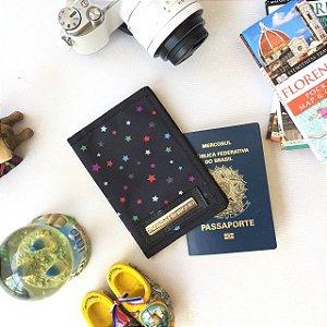 Capa para passaporte em nylon estampa estrelas