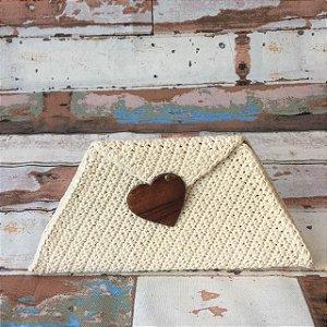 Carteira de Crochet  Coração Madeira