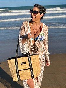 Bolsa de praia em palha listras