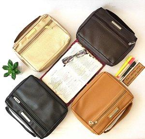 Kit com 4 Bolsas para Biblia em couro ecologico