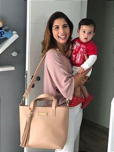 Bolsa maternidade de Couro Rosê Multi Mae