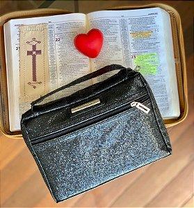Bolsa para Biblia Preta Gliter