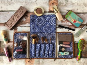 Porta Maquiagem Azul Estampa Bandana