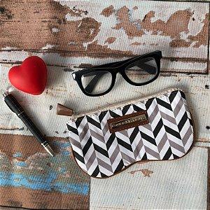 Porta Oculos Zig Zag Preto e Branco
