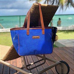 Bolsa de Praia Azul de Tela Quadrada