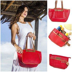 Kit bolsa de praia em tela vermelha Vazada e Necessaire tela vermelha