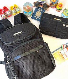 Kit Mochila de Viagem Preta Drylex  e Necessaire de Viagem Drylex
