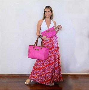 Kit bolsa de praia em tela quadrada e necessaire pink