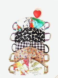 Máscara de Tecido Estampada Dupla Face - Kit com 5