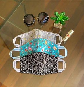 Máscara de Tecido Estampada Dupla Face - Kit com 3 Máscaras - Nuvem - floral Pb -  medicina