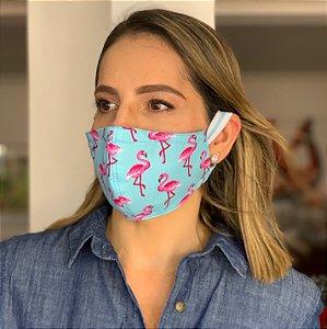 Máscara de Tecido Dupla Face Estampa Flamingos