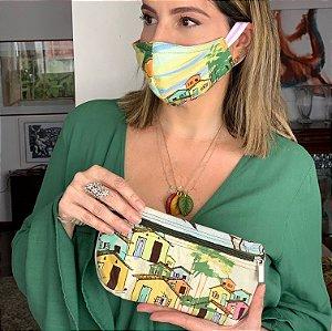 kit máscara e bolsinha vou ali estampa casinha