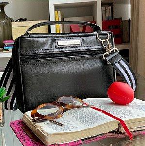 Bolsa para Bíblia Couro preto Alça Listrada