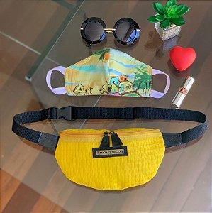 Kit Máscara de Tecido Protetora Estampada Dupla Face e Pochete tela amarela