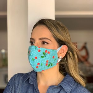 Máscara de Tecido Dupla Face Estampa Cereja