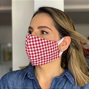 Máscara de Tecido  Dupla Face Estampa xadrez vermelha
