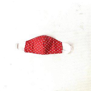 Máscara de Tecido  Dupla Face Estampa coração vermelha