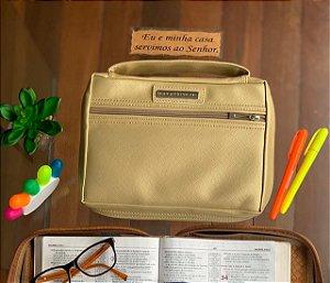 bolsa para bíblia couro dourada