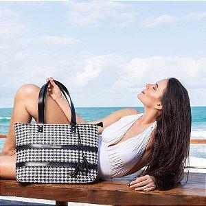 Bolsa de Praia preta e branca de Tela Barca estampa  PIED POULE