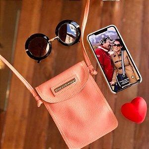 Bolsa porta celular couro rosa